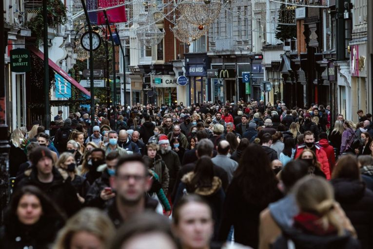 Crowds on Grafton Street last week: Dr Tony Holohan, the chief medical officer, has pleaded with people to minimise social contacts as cases of coronavirus increase sharply Picture: Fergal Phillips