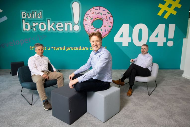 Kevin Fitzgerald, Kneat chief product officer, Eddie Ryan, chief executive and Brian Ahearne, chief information officer: the trio are co-founders of the medical software firm Picture: Alan Place