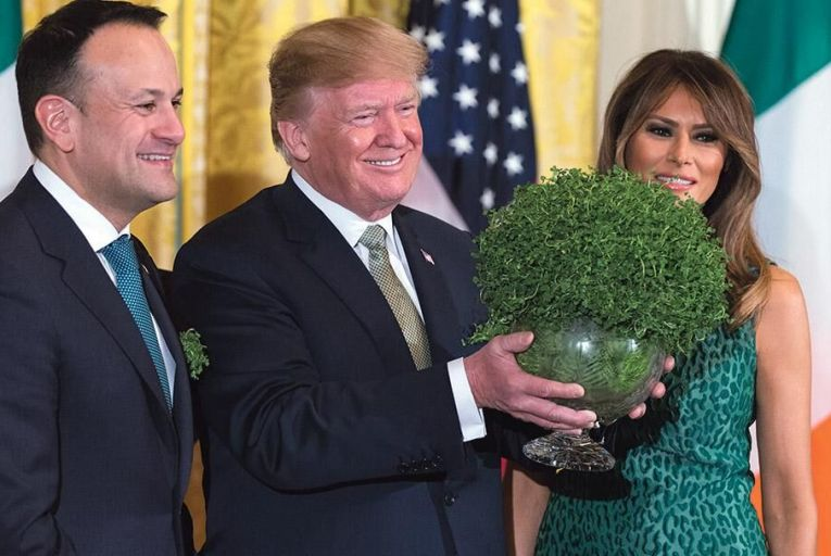 Taoiseach Leo Varadkar pictured with US president Donald Trump, and First Lady Melania Trump at the White House last week: trade restrictions between the EU and the US will increase Ireland's competitive advantage Pic: Getty