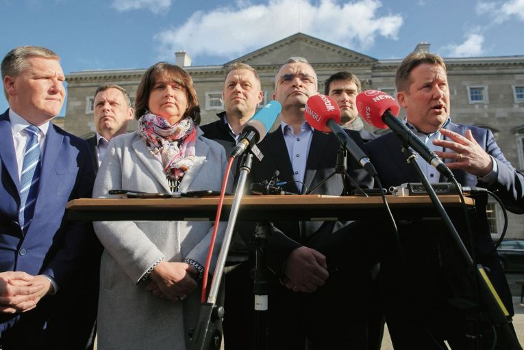 Fianna Fáil's negotiation team: the party believes Leo Varadkar's statement during the first leaders' debate that he was open to a coalition with them helped Sinn Féin. Picture:Gareth Chaney/Collins