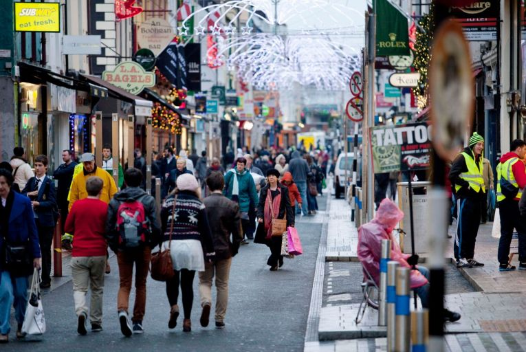 Oliver Plunkett Street in Cork is home to many independent retailers which give the city its character. Picture: Clare Keogh