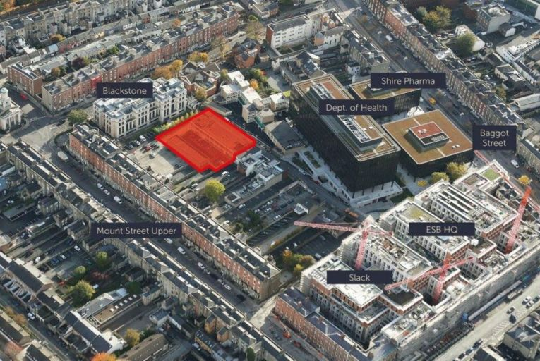 Numbers 37-42 James Place East, marked in red, offer a mix of office and mews buildings at a sale price of €7.5 million