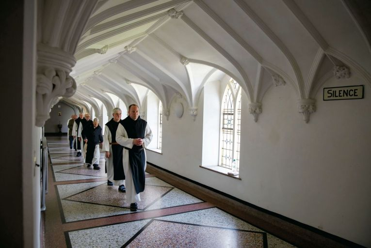 The Monks return from prayers at Mount Melleray Abbey, Co Waterford. Picture:  Patrick Browne