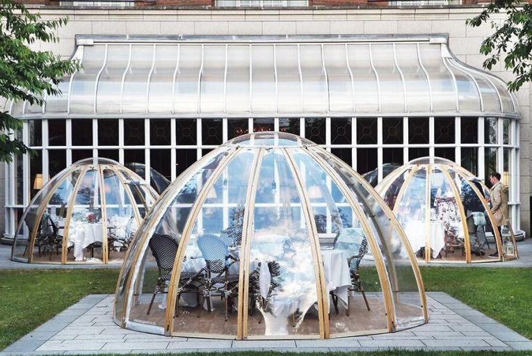 Sip bubbly in a garden pod