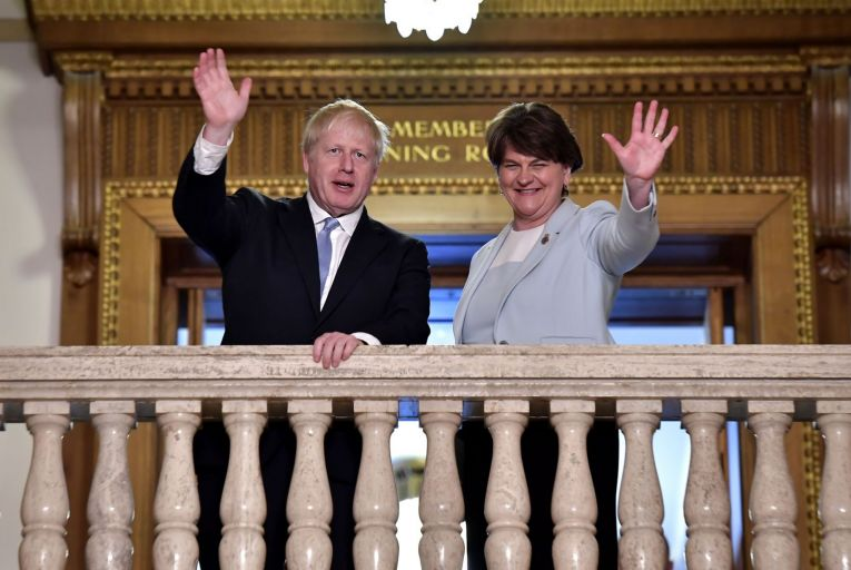 Boris Johnson and Arlene Foster: the British prime minister is perceived as merely going through the motions in any discussion about Northern Ireland. Picture: Getty