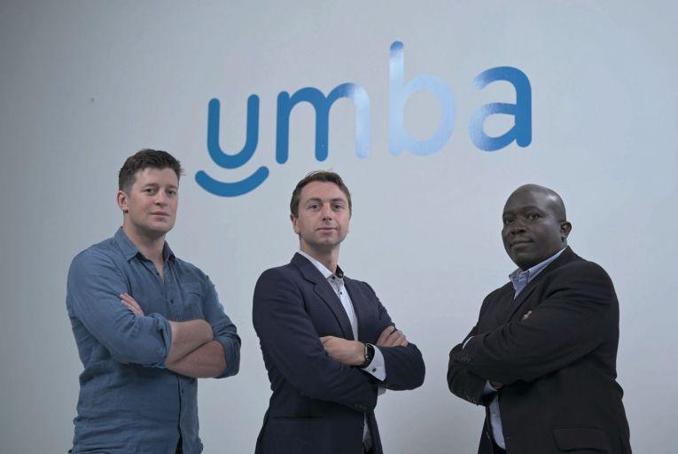 Barry O'Mahony and Tiernan Kennedy, Umba co-founders, and Kenas Otieno, the company's head of compliance