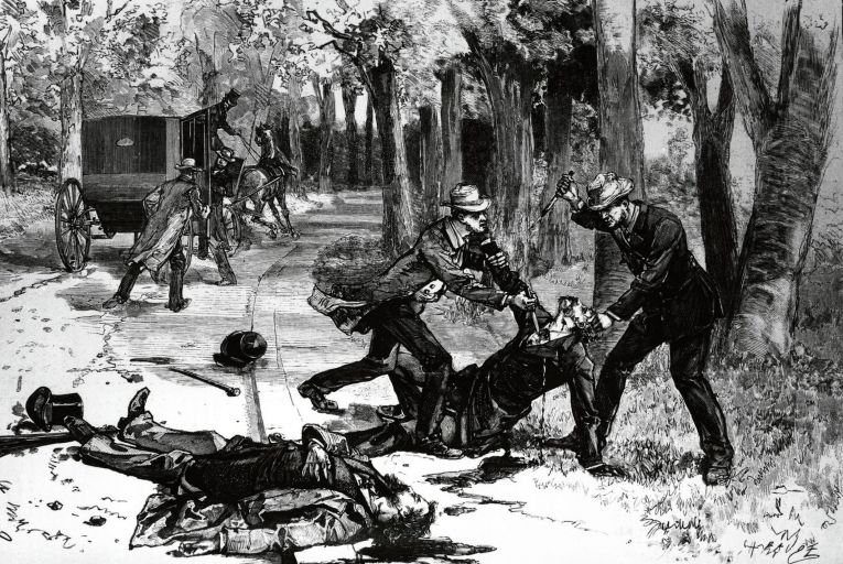 An illustration published in Le Monde in 1882 of the murder of Lord Frederick Charles Cavendish and Thomas Henry Burke  in Phoenix Park. Picture: Hulton Archive/Getty Images