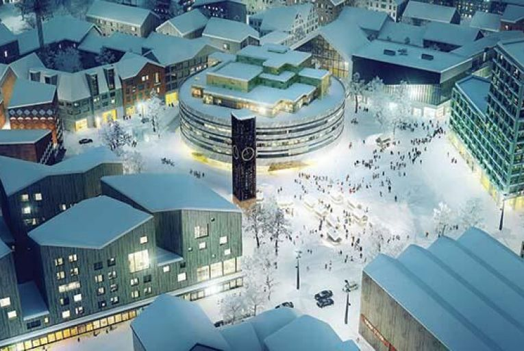 In Kiruna in Sweden, the new clock tower from the old city hall will stand in front of the new one as a focal point for the town's public life