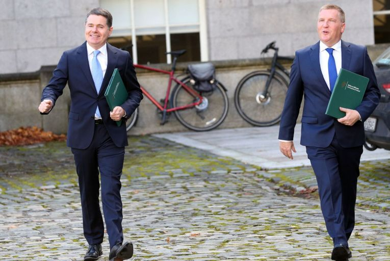Minister for Finance Paschal Donohoe and Minister for Public Expenditure and Reform Michael McGrath announcing Budget 2021 last year which provided for a €5.4 billion increase in exchequer spending. Picture: Sasko Lazarov/RollingNews