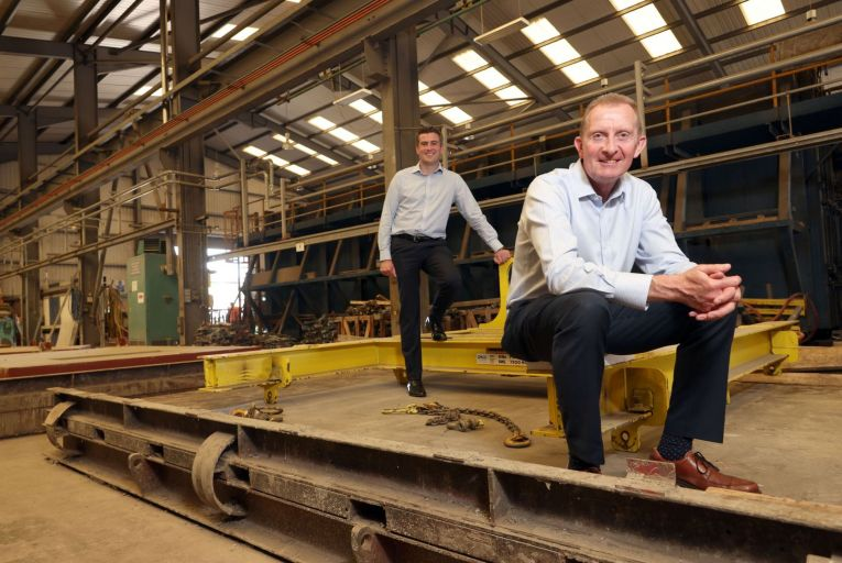 David Henry, managing director of the Henry Group, pictured with finance director Allen Reid in the pre-cast concrete workshop at the Magherafelt premises. Picture: Stephen Davison/Pacemaker