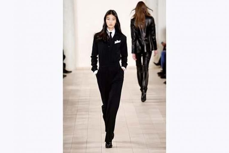 A model wears designs from Ralph Lauren\'s fall 2015 collection in New York last month.