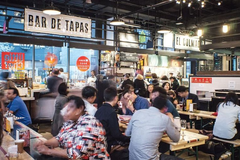 Westmarket Food Court, where visitors can find pinxos, bao and pulled duck burgers sourced from France