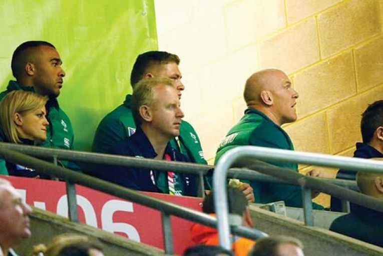 An injured Paul O'Connell (second right) looks on as  Ireland are trounced by Argentina last Sunday Pic: Getty