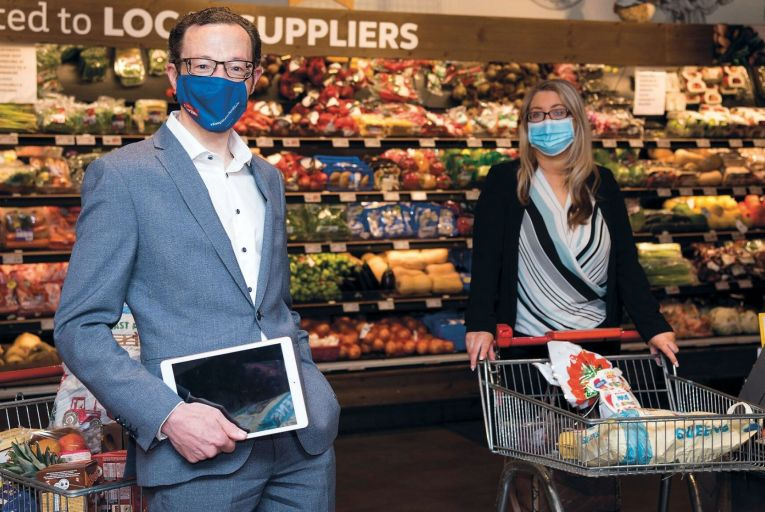 Michael O'Mahony, director of finance at Caulfield McCarthy Group and Christine Fortune, business relationship manager at Datapac, announced the deal in one of the retail group's SuperValu stores
