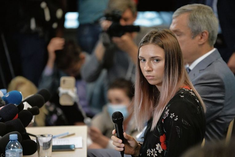 Krystsina Tsimanouskaya, the Belarussian athlete, at a press conference following her arrival in Warsaw. Picture: Getty