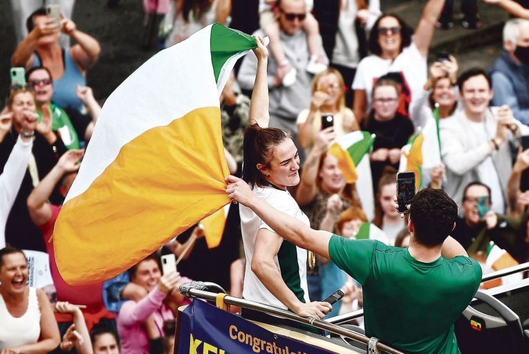 Kellie Harrington, the Olympic gold medallist, had a joyous homecoming. Picture: Sportsfile/Getty