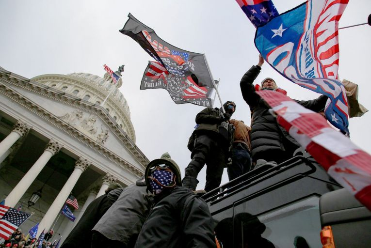 Some of the pro-Trump mob who stormed the Capitol on Wednesday: looking at the events of the past four years, the only surprise is that it didn't happen sooner. Picture: Bryan Dozier/Shutterstock