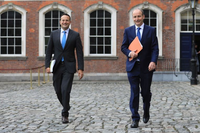 Taoiseach Micheál Martin and Tánaiste Leo Varadkar; the language of increments and pay restoration is foreign to most of the workforce. Picture: Julien Behal