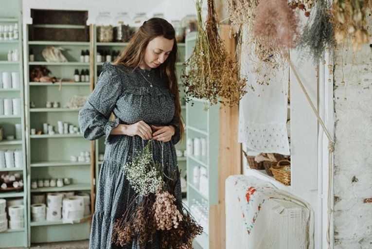 Réidín Beattie at her Clonakilty studio where a Victorian clothes pully is now home to bunches of dried herbs and flowers