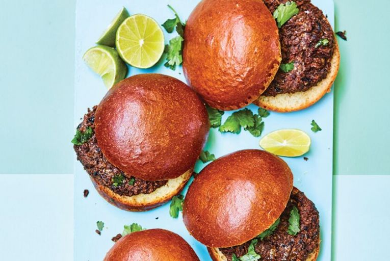 Chipotle mushroom and black bean burgers with peanuts and lime