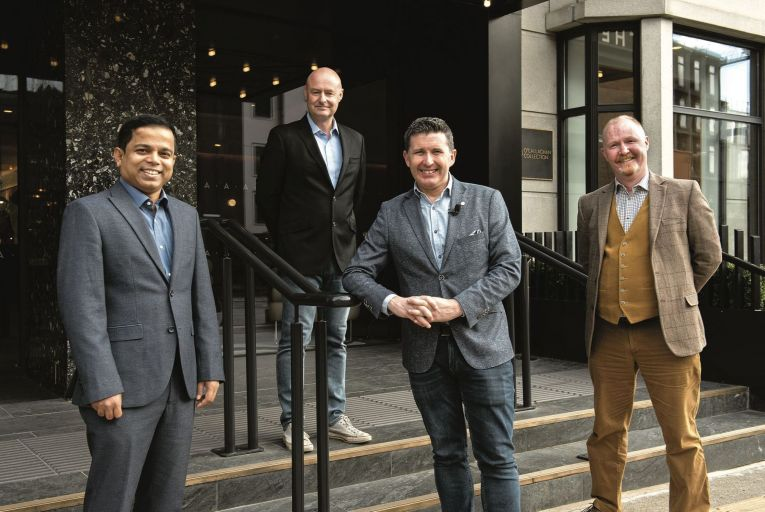 Adnan Ahmed, head of ICT and chief information security officer, Ornua; Justin Ralph, chief technology officer, RCSI; Jonathan Healy, broadcaster and summit host and Paul Collins, SVP, regional information security officer, Europe, Elavon Financial Services (EFS). Picture: Maura Hickey