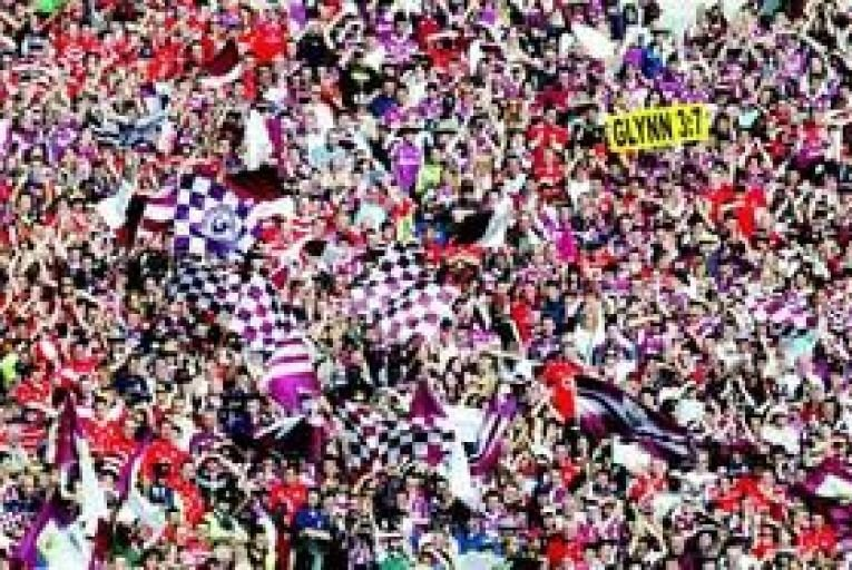 Galway and Cork fans at the 2005 All-Ireland final. Photo: Inpho