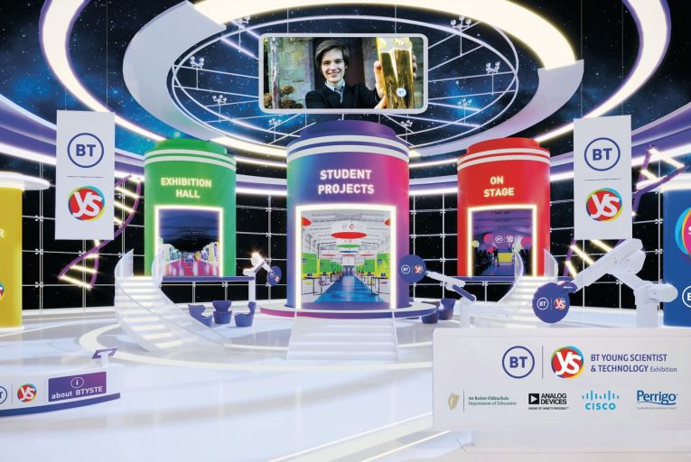 The interactive BTYSTE portal lobby featuring Gregory Tarr, BT Young Scientist & Technologist of the Year 2021