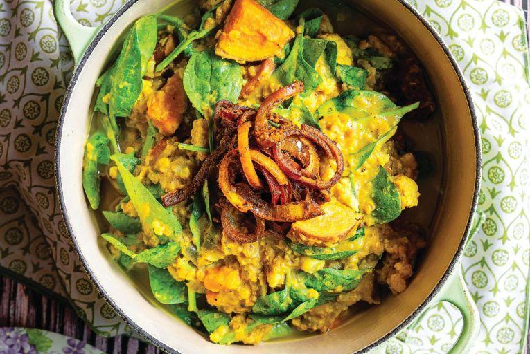 Sweet potato, cauliflower and spinach dahl
