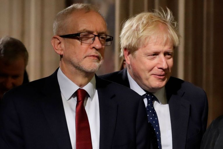 Labour leader Jeremy Corbyn with Prime Minister Boris Johnson. Picture: PA Wire