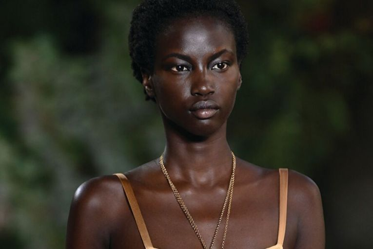 Glowing skin was a feature of the catwalk shows for Spring-Summer 2021, such as here at Alberta Ferretti's show in Milan