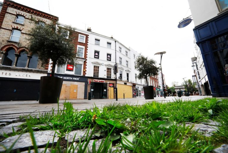 A shuttered Grafton Street in Dublin city centre. It is crucial that small businesses are strongly supported when they are allowed to reopen. Picture: Leon Farrell/Rollingnews.ie