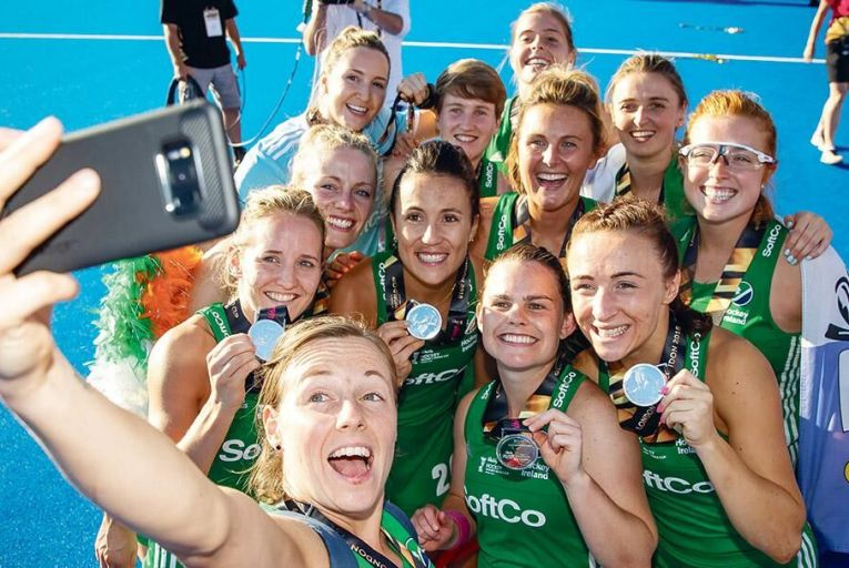 The Ireland women's team celebrate with their silver medals in London last weekend  Pic: INPHO