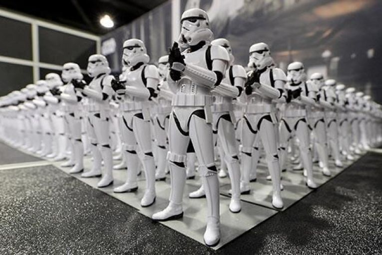 Stormtrooper figurines are displayed during the kick-off event of Disney\'s Star Wars Celebration 2015 at the Anaheim Convention Cente Picture: Getty