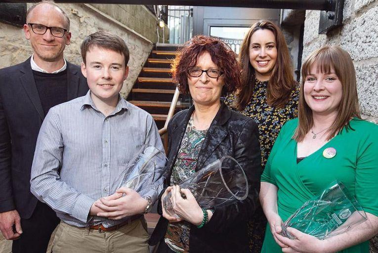 From left: Brendan Barrington, editor at Penguin Ireland; Colm McDermott, runner-up; P Kearney Byrne, winner; Elaine Prendeville, Magazine editor; and Michelle Coyle, second runner-up Pic: Fergal Phillips
