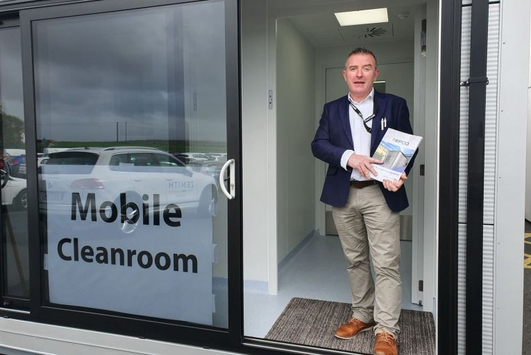 Brendan Dolan, founder of Iso Pod, in one of the company's ready-made cleanroom laboratories
