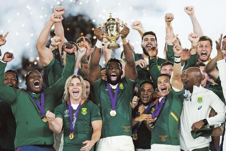 Siya Kolisi, captain of South Africa, lifts the Webb Ellis Cup as they celebrate winning the Japan 2019 Rugby World Cup final match between England and South Africa at the International Stadium Yokohama in JapanPictures: Getty