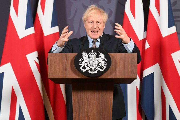 Boris Johnson, the British Prime Minister, giving a press conference after tweeting: 'The deal is done.' Photo: Getty
