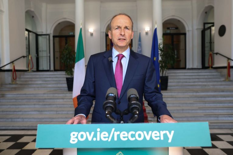Taoiseach Micheál Martin addressing the nation from outside Government Buildings last week. Picture: Julien Behal/RollingNews.ie