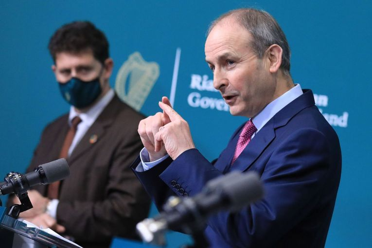 Taoiseach Micheál Martin, Tánaiste Leo Varadkar and Minister for the Environment, Climate and Communications and Minister for Transport Eamon Ryan at the post cabinet press briefing in Government Buildings,Dublin. Picture:Julien Behal