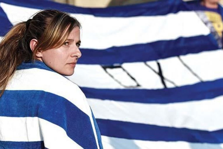 A Greek woman at an anti-austerity protest.
