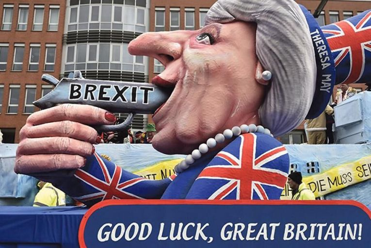A float in a German parade, predicting Brexit. 'Brexiteers set out to remove themselves from the European edifice they disliked, and have instead dislodged their own'