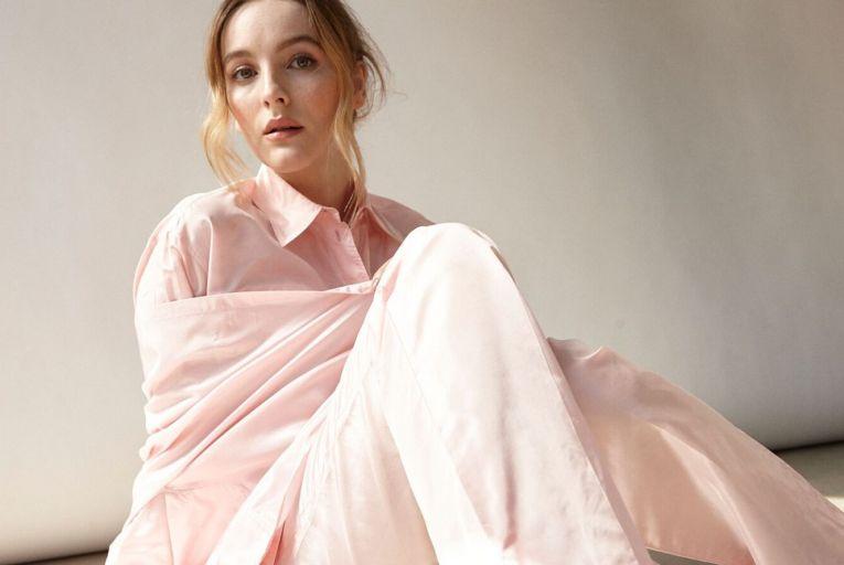 Ann Skelly wears Cherry Tree triangle rose taffeta cape, €1,930; taffeta top, €1,180, and taffeta pants, €977; blue nylon gabardine shoes, €815, all Prada