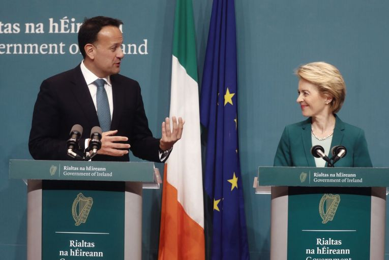Taoiseach Leo Varadkar and European Commission President Ursula von der Leyen meeting last year: it has emerged that the EU is using Ireland's GDP as a reason to reduce our allocation from its €750 billion Covid-19 recovery fund. Credit: RollingNews