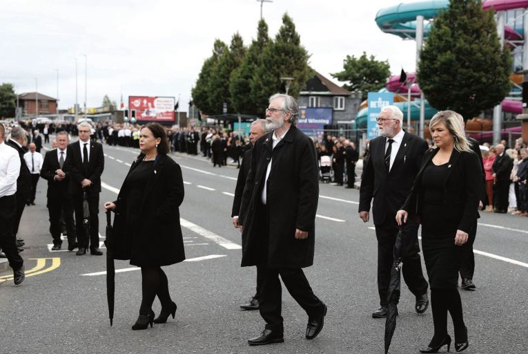 The funeral of senior republican Bobby Storey Sinn Fein Leader Mary Lou McDonald, former leader Gerry Adams and Deputy First Minister Michelle O'Neill. Pic: Pacemaker Press