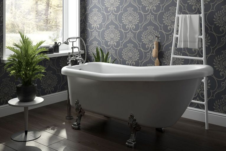 Sonas Bathrooms Viceroy traditional free-standing bath with floor-standing bath shower mixer, €1,060
