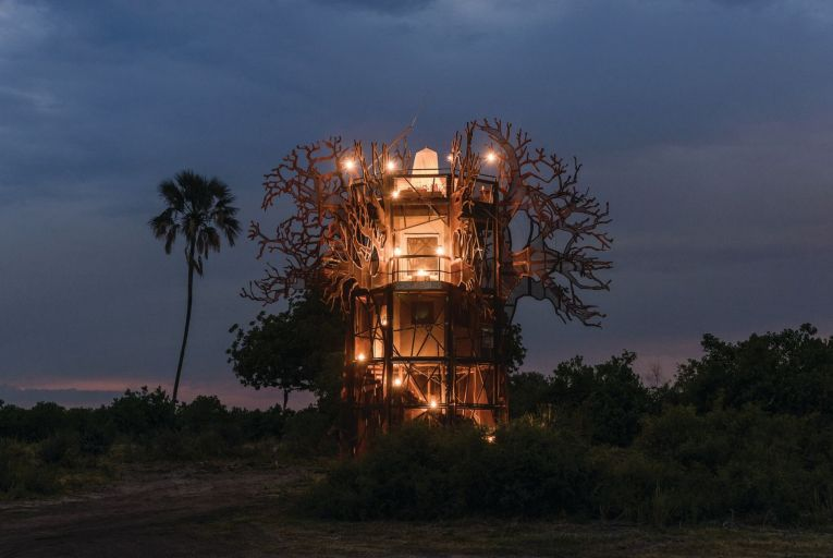 Xigera Safari Lodge, which opens in Botswana's Okavango Delta this month, has a three-storey treehouse