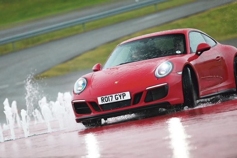 The Porsche GTS thrives in slippery conditions
