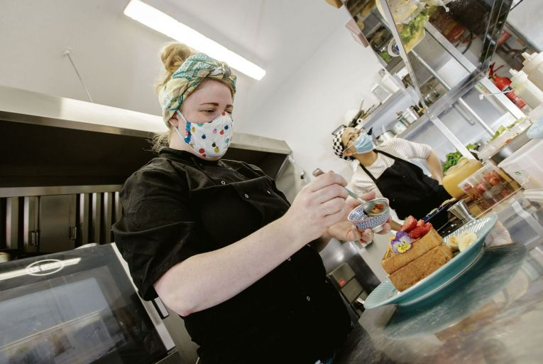Ethna Reynolds in the kitchen at Nádúr restaurant, Coolaney Co Sligo.Picture: James Connolly
