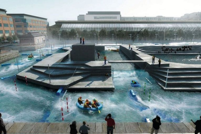 CGI of the proposed white-water rafting facility in George's Dock