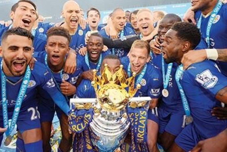 Leicester City celebrate their  championship title win, despite their  owners having a smaller chequebook to woo talent than most rival clubs Picture: Getty